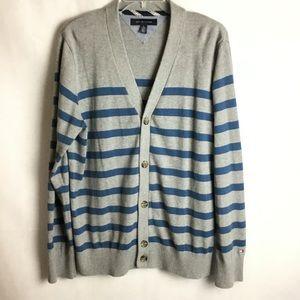 Men's Tommy Hilfiger Striped Cardigan Sweater, XL.